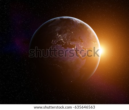 Planet Earth with rising Sun, view from space. Elements of this image furnished by NASA #635646563