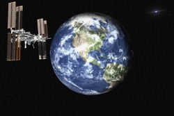 Planet Earth with satelite space station of solar system in the space with far galaxy on the background. Blue planet.  Science fiction. Elements of this image were furnished by NASA