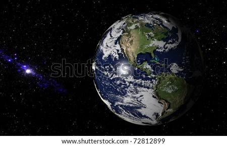 Planet Earth with subtle cloudy atmosphere in space. Hundreds of stars and nebulae are forming a dark but picturesque background. Breathtaking shadows are visible on the planets higher elevations.