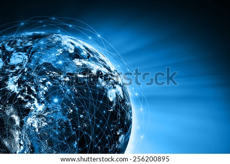 Planet earth with sun rising . Best Internet Concept of global business from concepts series.Elements of this image furnished by NASA