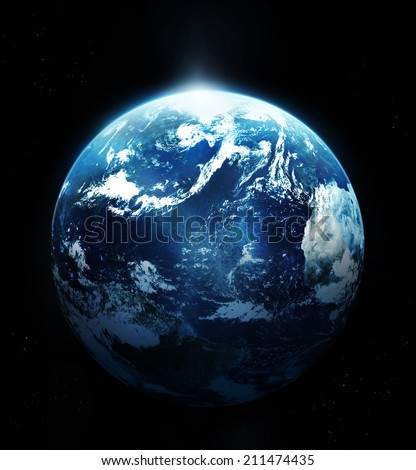 Stock Photo Planet earth with sun rising from space-original image from NASA