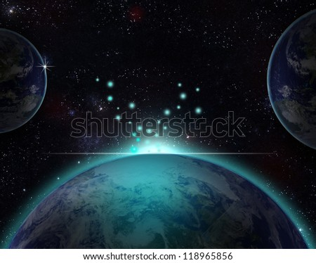 Planet earth with sun rising over European countries (Elements of this image furnished by NASA