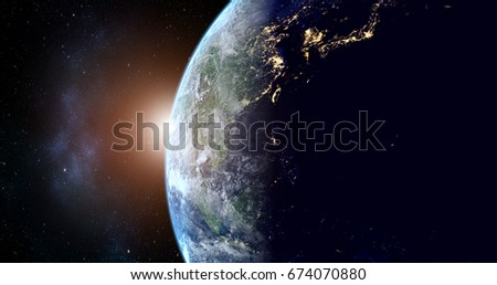 Stock Photo planet earth with sunrise in the space - Asia - elements of this image furnished by NASA