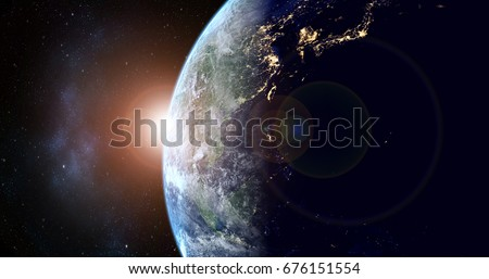 planet earth with sunrise in the space - Asta - elements of this image furnished by NASA #676151554