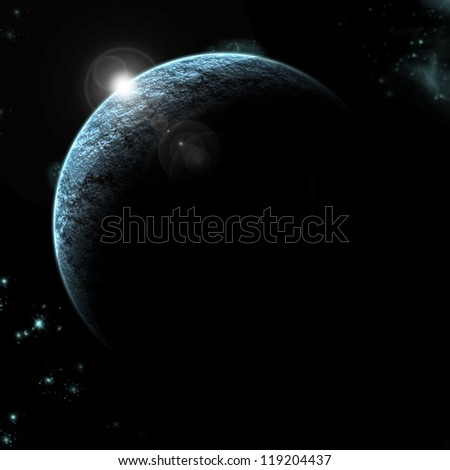 planet eclipse with stars in background