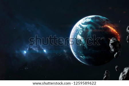 Planet explosion. Apocalypse. Elements of this image furnished by NASA #1259589622