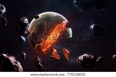 Planet explosion. Apocalypse in space, destroying cosmic object. Elements of this image furnished by NASA #770528035