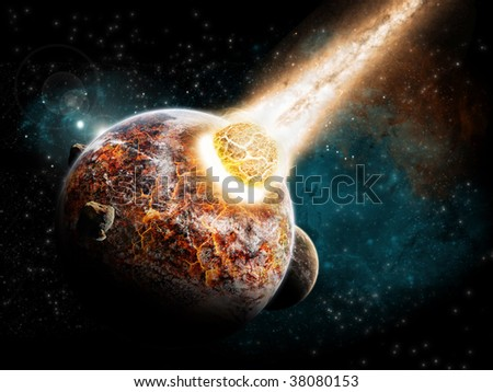 Planet explosion burned by a meteor. - stock photo