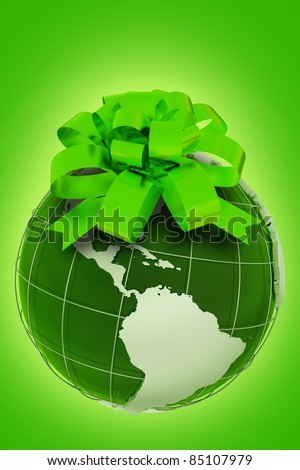 Planet Gift. Green Ecologic Theme with Earth Model with Green Bow. Vertical Eco Design. Glowing Green Background. 3D Render illustration.