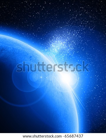 planet in outer space on a blue background
