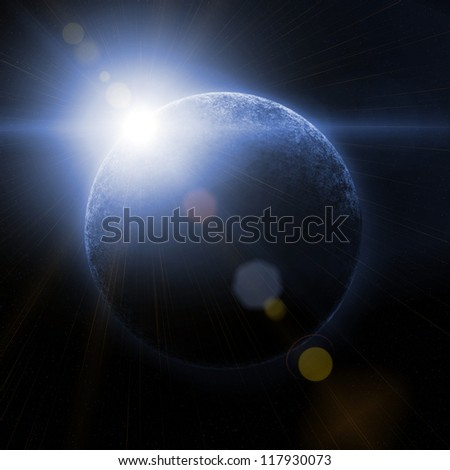 planet in space against the sun