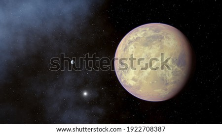 planet in space, canyons on an alien planet, stone planet, desert planet 3d render