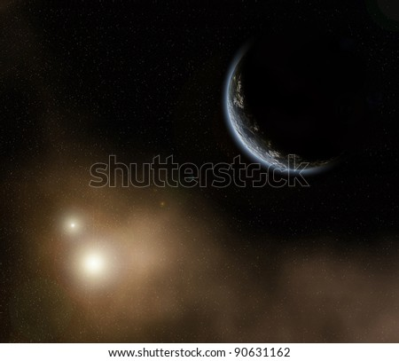 Planet in space, deep cosmos with glowing stars