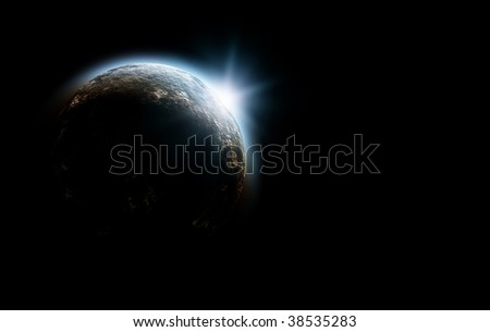 planet in space with sunrise