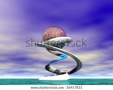 Planet in spiral - stock photo