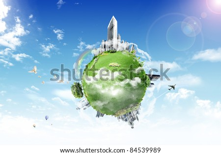 Planet in the sky. business concept