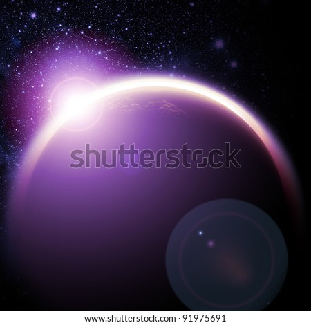 Planet in the space and stars with galaxies