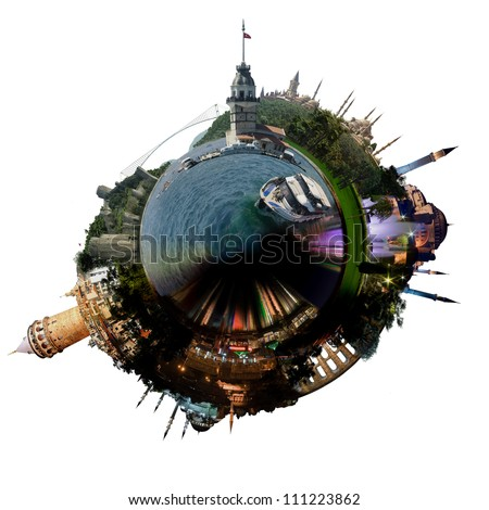 Planet Istanbul - Miniature planet of Istanbul, with all important buildings and attractions of the city, isolated on white
