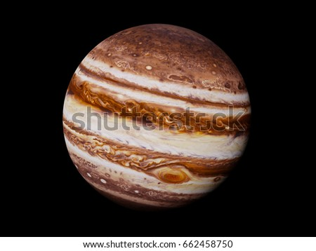 planet Jupiter isolated on black background (3d render, elements of this image are furnished by NASA)