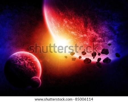 Planet lanscape and asteroids