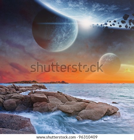 Planet lansdcape view from a beautiful beach at sunset - stock photo