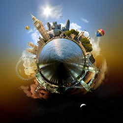 Planet London - Miniature planet of London, with all important buildings and attractions of the city