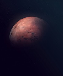 Planet Mars. Astronomy and science concept. Dark background. Space texture. Elements of this image furnished by NASA.
