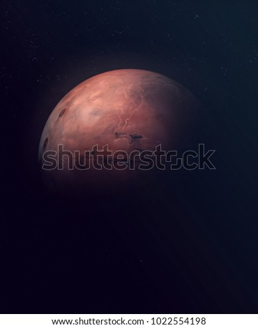 Planet Mars. Astronomy and science concept. Dark background. Space texture. Elements of this image furnished by NASA. #1022554198