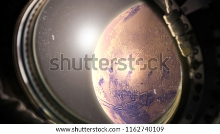 planet Mars in space with sunlight view from the window of the spacecraft #1162740109