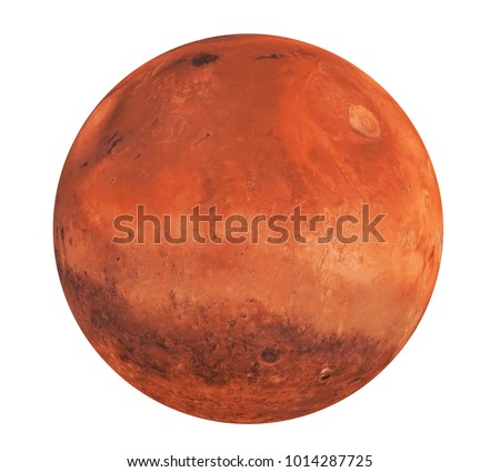 Planet Mars Isolated (Elements of this image furnished by NASA). 3D rendering