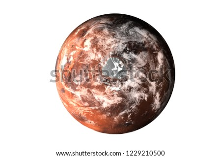 Planet Mars with atmosphere top side of solar system render isolated on white background. Elements of this image furnished by NASA.