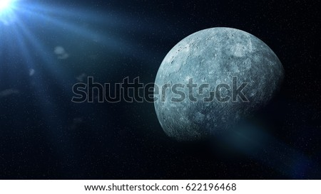 planet Mercury in the stars and lit by the Sun (3d illustration, background banner, elements of this image are furnished by NASA)