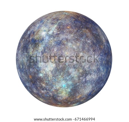 Planet Mercury Isolated. 3D rendering (Elements of this image furnished by NASA)