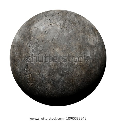 planet Mercury isolated on white background (3d rendering, elements of this image are furnished by NASA)