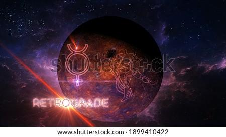 planet mercury retrograde in aquarius 3d rendering illustration ストックフォト ©