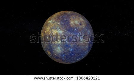 Planet Mercury with enhanced Color. Realistic 3D render of mercury and stars. Mercury in space. 'Elements of this image are furnished by NASA.'  ストックフォト ©
