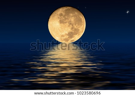Planet Moon and shadows in the water. Elements furnished by NASA. stock photo