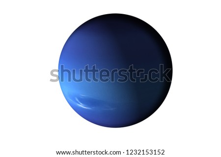 Planet neptune of solar system isolated. Fiction blue planet. Elements of this image furnished by NASA.