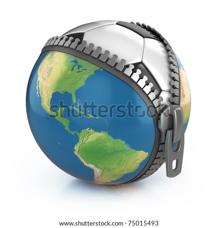 planet of football 3d concept - football under unzipped globe