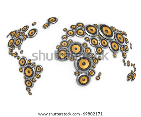planet of sound 3d illustration - many loudspeakers forming world map