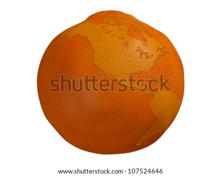 Planet Orange - a 3d render of a globe in the form of an orange isolated on a white background