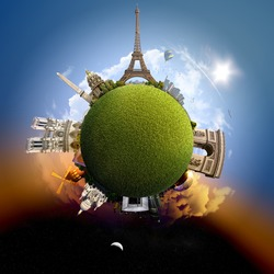 Planet Paris - Miniature planet of Paris, France, with all important buildings and attractions of the city - grassy park globe