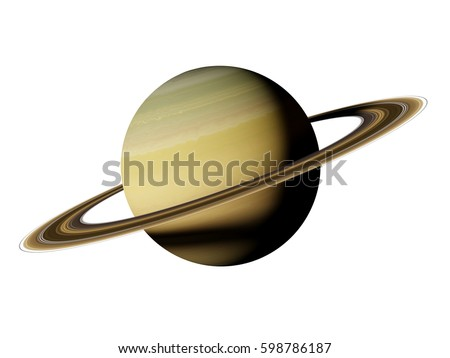 planet Saturn, isolated on white background (3d illustration, elements of this image are furnished by NASA)
