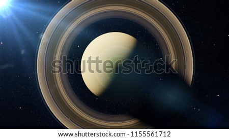 planet Saturn, the sixth planet in the Solar System lit by the Sun, top view (3d space render, elements of this image are furnished by NASA)