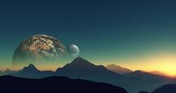 planet space moon world landscape