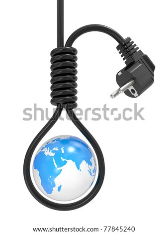 Planet the earth in a loop on the gallows, an energy crisis