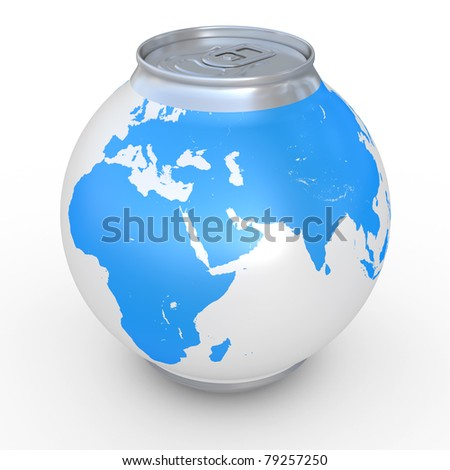 Planet the earth in the form of a beer can