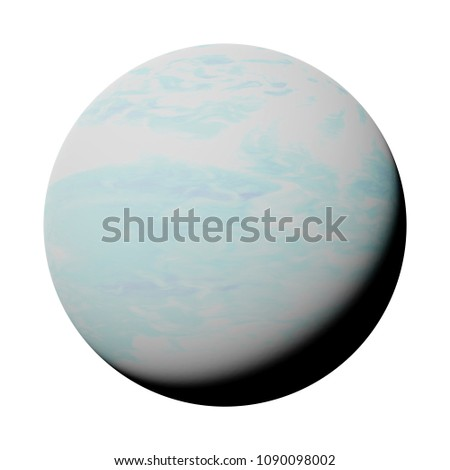 planet Uranus isolated on white background, part of the solar system (3d space illustration, elements of this image are furnished by NASA)