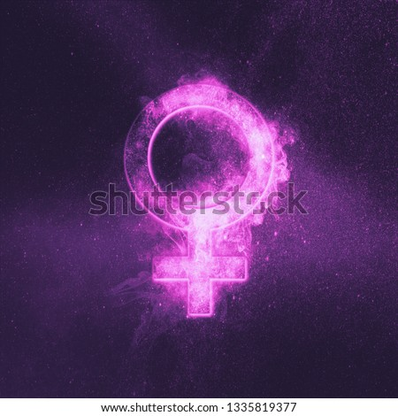 Planet Venus Symbol. Venus sign. Abstract night sky background.