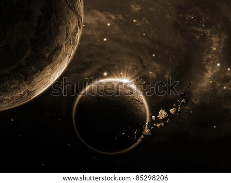 planet with an asteroid in the starry background